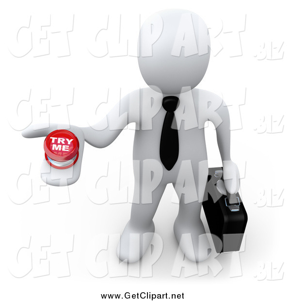 Clip Art of a 3d White Businessman Holding up a Try Me Button, Looking for a Job