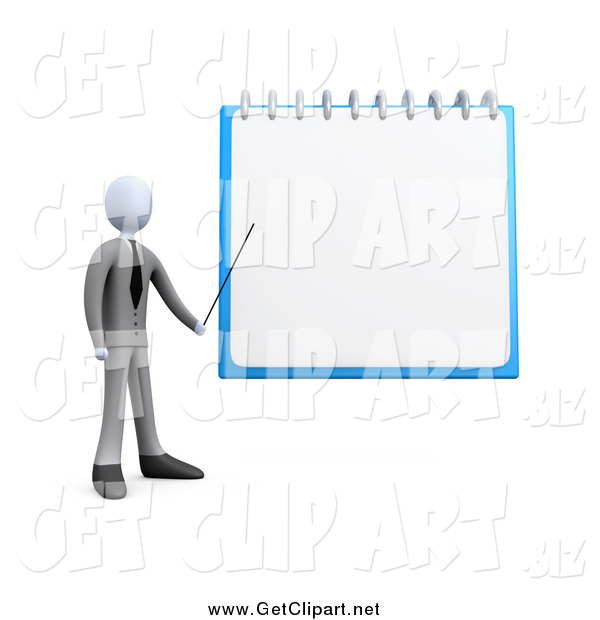 Clip Art of a 3d White Businessman Pointing to a Blank Notepad