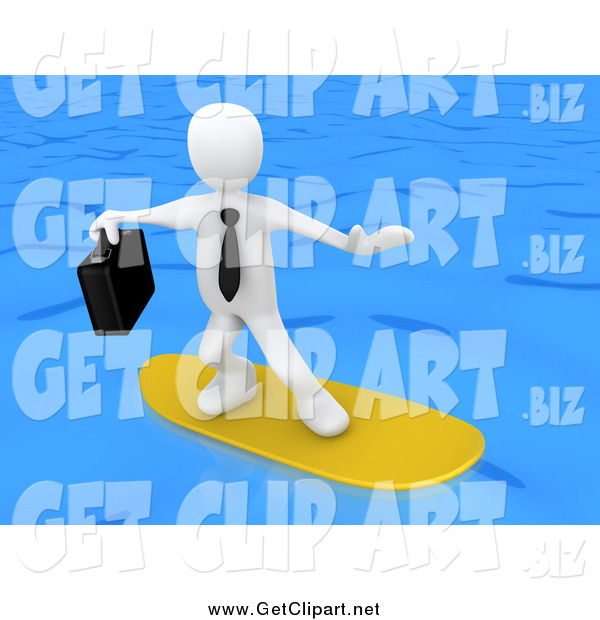 Clip Art of a 3d White Businessman Surfing