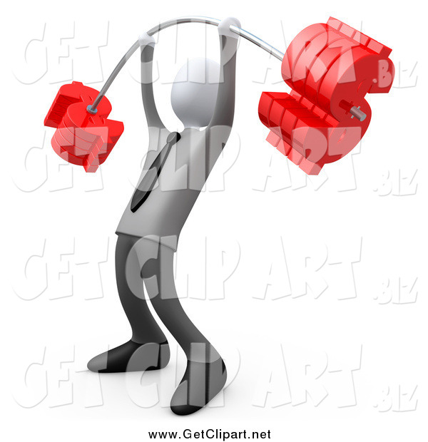 Clip Art of a 3d White Businsess Man Lifting a Heavy Barbell with Dollar Symbol Weights