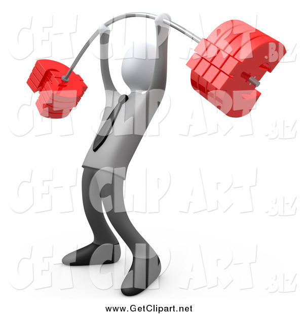 Clip Art of a 3d White Businsessman Lifting a Heavy Euro Barbell