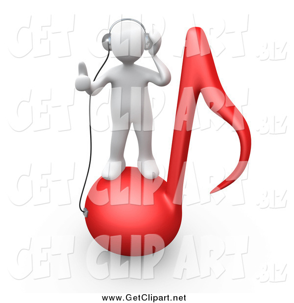 Clip Art of a 3d White Guy Standing on a Red Music Note and Wearing Headphones