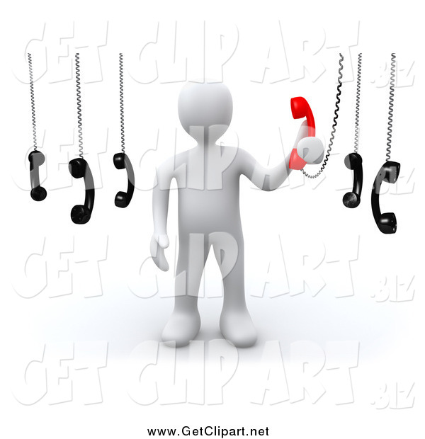Clip Art of a 3d White Man Answering an Important Call out of Several