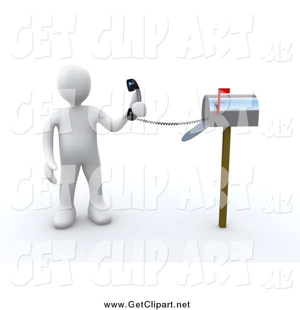 Clip Art of a 3d White Man Holding a Corded Phone from Inside a Mailbox, Symbolizing Fast Service
