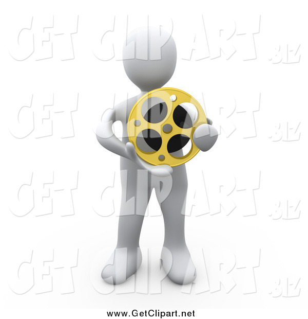 Clip Art of a 3d White Man Holding a Film Reel