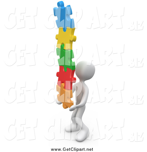Clip Art of a 3d White Man Holding a Pile of Colorful Puzzle Pieces