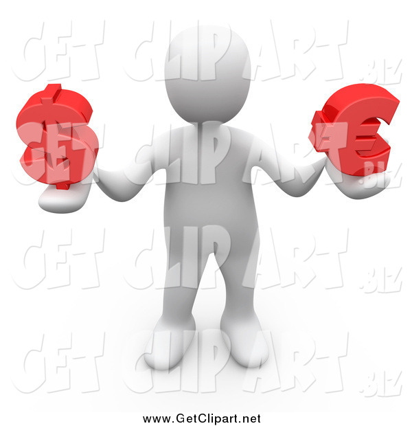 Clip Art of a 3d White Man Holding Red Dollar and Euro Currency Symbols
