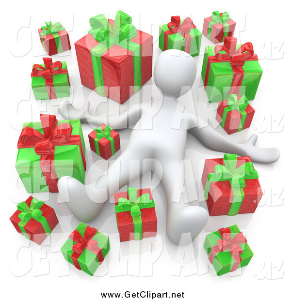 Clip Art of a 3d White Man Laying Red and Green Christmas Presents
