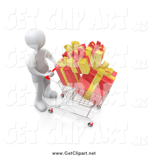 Clip Art of a 3d White Man Pushing a Shopping Cart with Yellow and Red Christmas Gifts