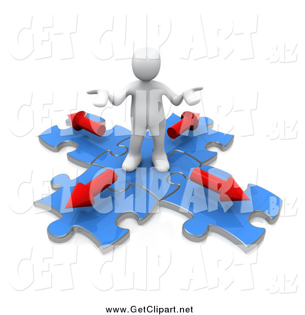 Clip Art of a 3d White Man Shrugging on Blue Puzzle Pieces with Arrows Pointing in Different Directions