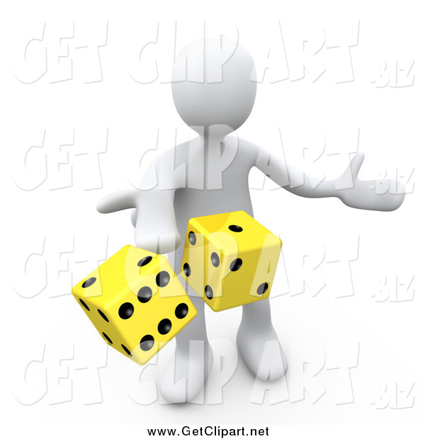 Clip Art of a 3d White Man Tossing up a Pair of Yellow Dice, Symbolizing Chance and Risk