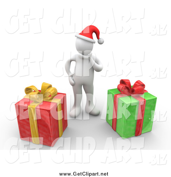 Clip Art of a 3d White Man Wearing a Santa Hat and Rubbing Their Chin, Trying to Guess What Their Christmas Gifts Are