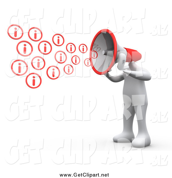 Clip Art of a 3d White Man with a Red Megaphone Head, Shouting out Information