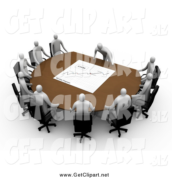 Clip Art of a 3d White Manager Leaning over a Table at a Meeting, Discussing the Stats