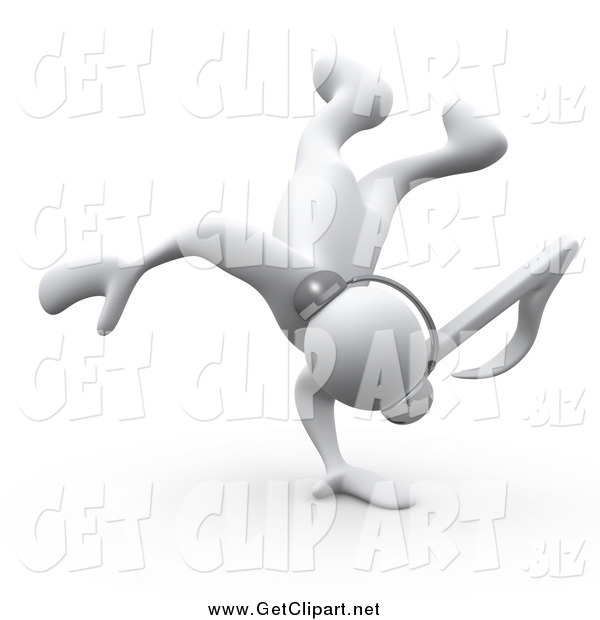Clip Art of a 3d White Music Note Headed Person Listening to Tunes Through Headphones and Break Dancing