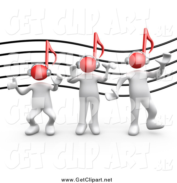 Clip Art of a 3d White People with Red Music Note Heads Against a Staff