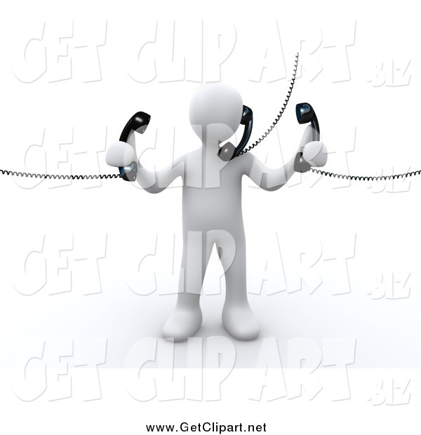 Clip Art of a 3d White Person Holding and Talking on Three Corded Telephones