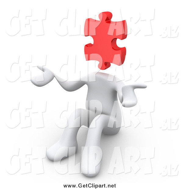 Clip Art of a 3d White Person with a Red Jigsaw Puzzle Piece Head, Sitting and Shrugging