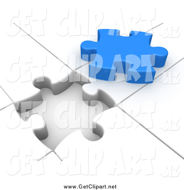 Clip Art of a 3d White Puzzle with an Open Space