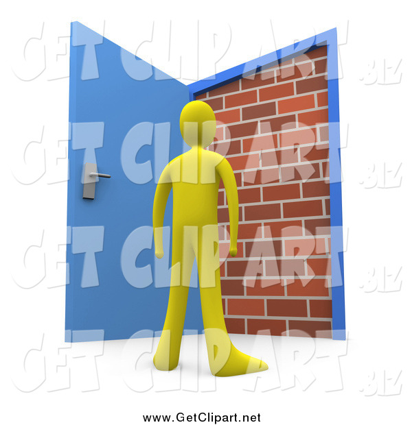 Clip Art of a 3d Yellow Person Standing at an Open Door, Only to Find a Brick Wall, yet Another Obstacle