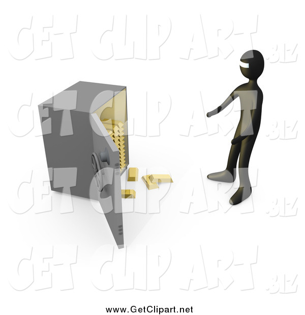 Clip Art of a Bank Robber Before an Open Safe, Gold Bars Spilling out