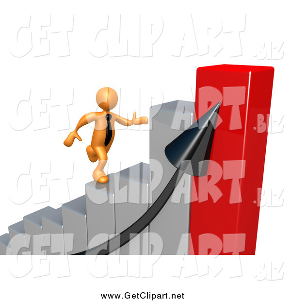 Clip Art of a Bar Graph and 3d Orange Man Running up