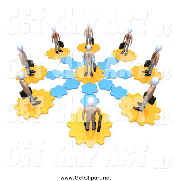 Clip Art of a Circle of 3d Employees on Gears, All Connecting to the Middle Man
