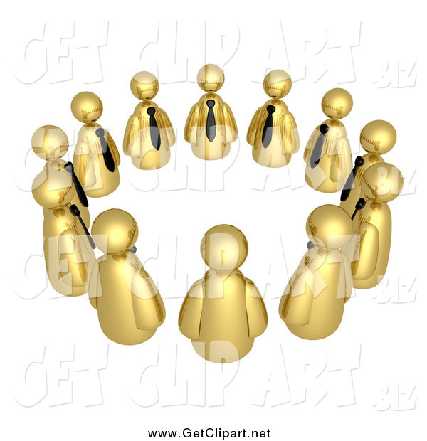 Clip Art of a Circle of 3d Golden Businessmen Avatars in a Support Group or Meeting