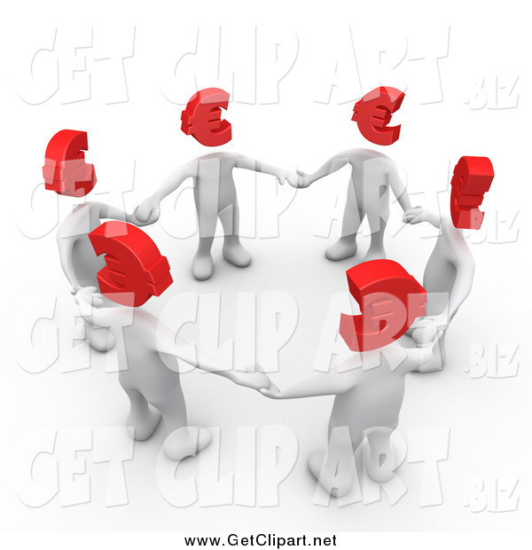 Clip Art of a Circle of 3d White People with Red Euro Heads, Standing in a Circle and Holding Hands