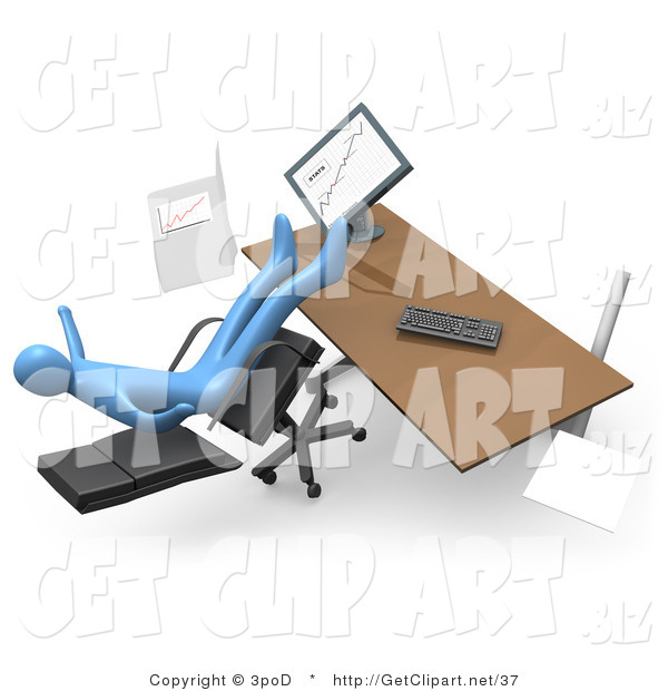 Clip Art of a Clumsy Blue Business Man Falling Backwards After Leaning Too Far Back in a Chair at His Computer Desk While Comparing Graphs on a Printout and on the Computer