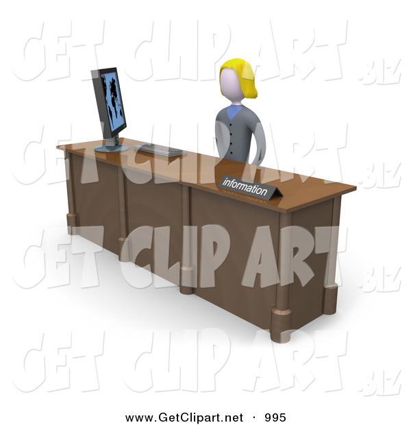 Clip Art of a Friendly and Welcoming Blond Banker Woman Working at a Computer at an Information Desk in an Office