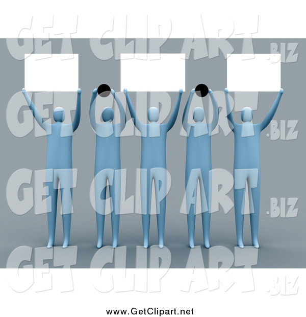 Clip Art of a Group of 3d People Holding up Blank Signs and Dots