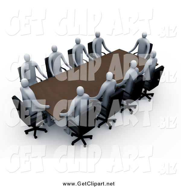 Clip Art of a Group of 3d Professional People Around a Rectangular Meeting Table
