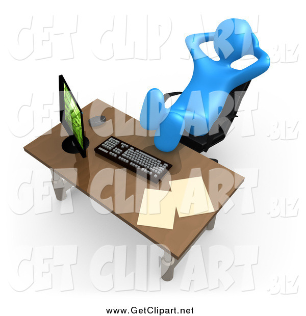 Clip Art of a Lazy 3d Blue Man with His Feet up on an Office Desk