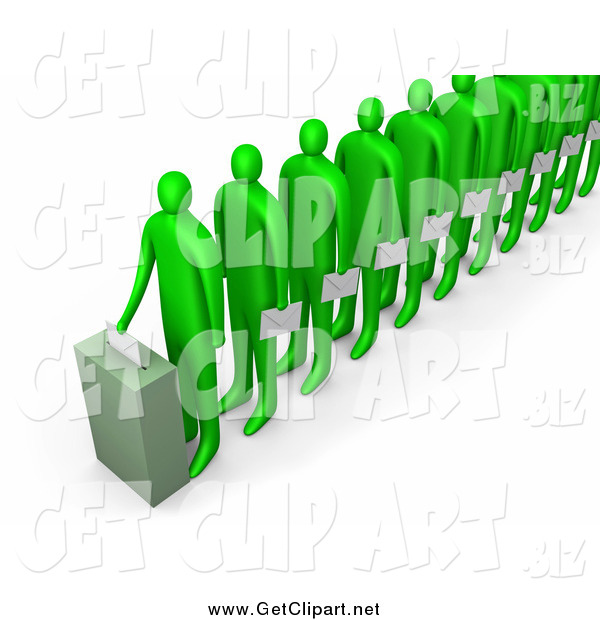 Clip Art of a Line of 3d Green People Holding Ballots and Waiting for Their Turn to Vote