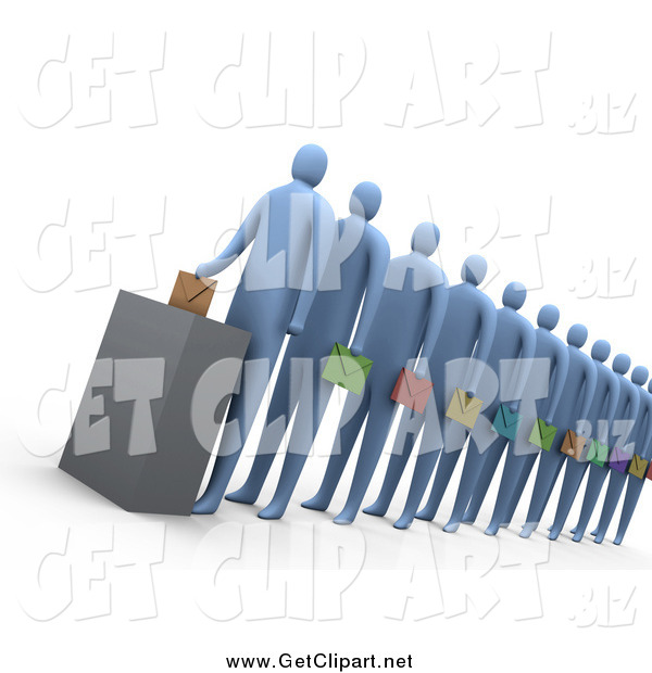 Clip Art of a Line of 3d Political Blue Voters Carrying Different Colored Envelopes and Waiting for Their Turn at the Ballot Box