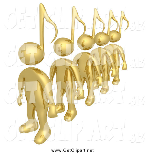 Clip Art of a Line of Gold 3d People with Music Note Heads