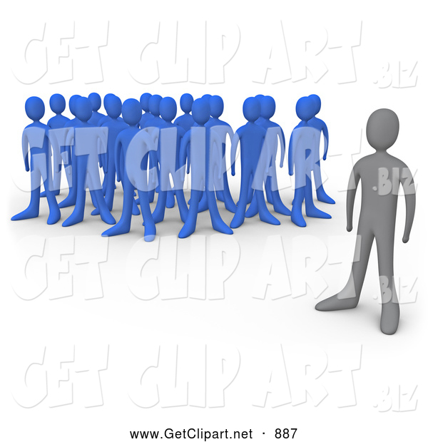 Clip Art of a Lonely Gray Person Standing Alone near a Crowd of Blue People, Symbolizing Leadership, Depression, Uniqueness, Etc