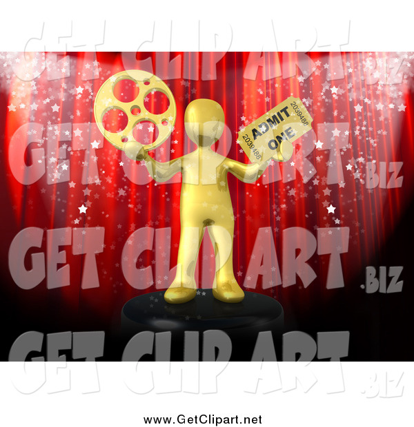 Clip Art of a Red Theater Curtain with Confetti and a 3d Gold Man