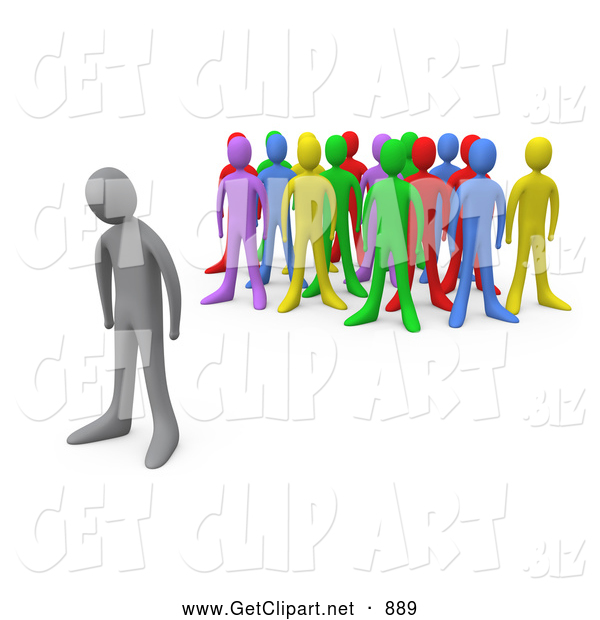 Clip Art of a Sad Gray Man Standing Alone near a Crowd of Different Colored People, Symbolizing Depression, Bullying, Standing out