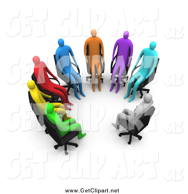 Clip Art of a Support Group of 3d Colorful People in Chairs