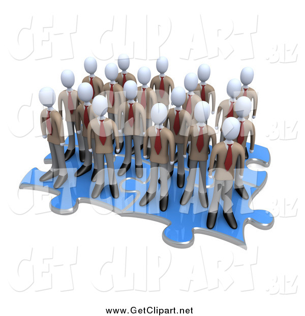 Clip Art of a Team of 3d White Businessmen Associates Standing on Connected Puzzle Pieces