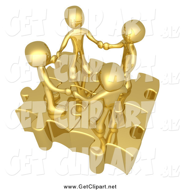 Clip Art of a Team of Four 3d Golden People Holding Hands on Linked Puzzle Pieces