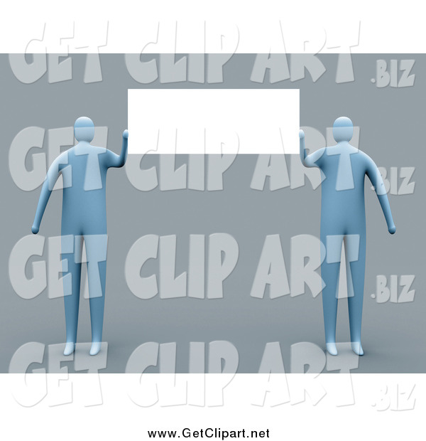 Clip Art of a Two 3d Blue People Presenting a Blank Sign on Gray