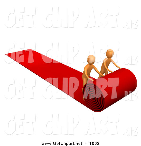 Clip Art of a Two 3d Orange Men Unrolling a Red Carpet