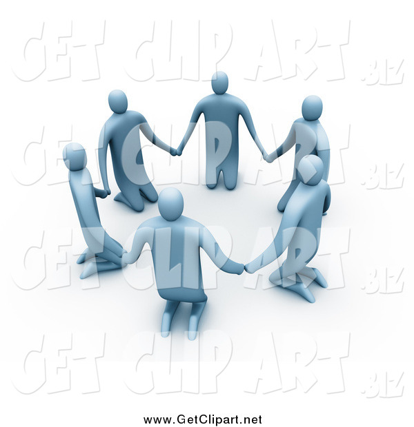 Clip Art of A3d Blue People Kneeling and Holding Hands in a Unity Circle