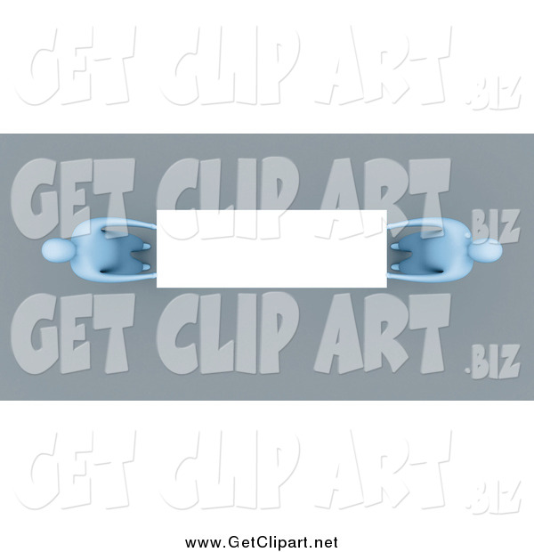 Clip Art of an Aerial View of 3d Blue People Holding a Blank Sign