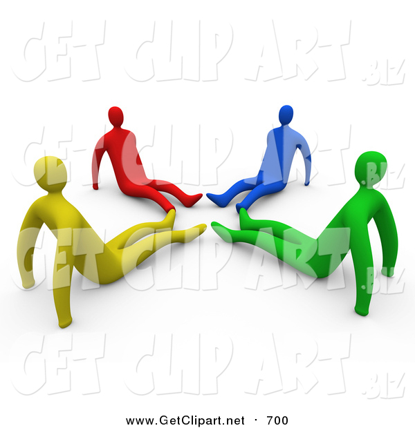 Clip Art of Diverse Yellow, Red, Blue and Green People Seated on the Floor with Their Feet in a Circle