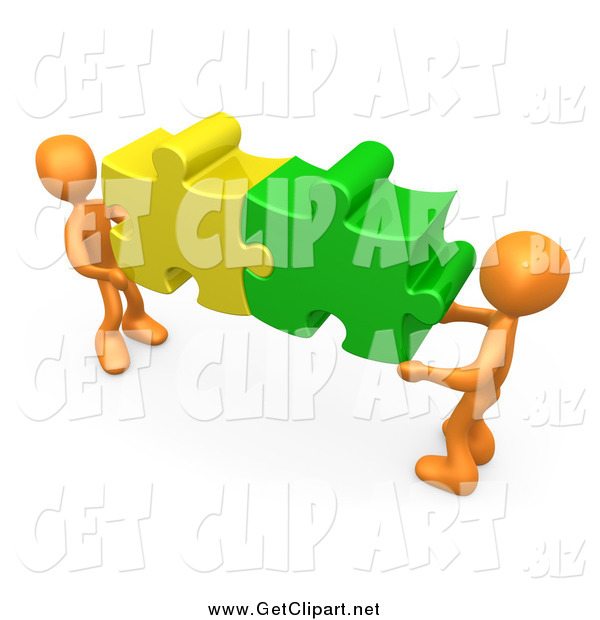 Clip Art of Two 3d Orange Men Holding Together Colorful Puzzle Pieces to Find a Solution