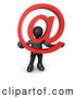 3d Clip Art of a Black Man Holding a Red at Symbol with His Head Peeking Through the Center by 3poD